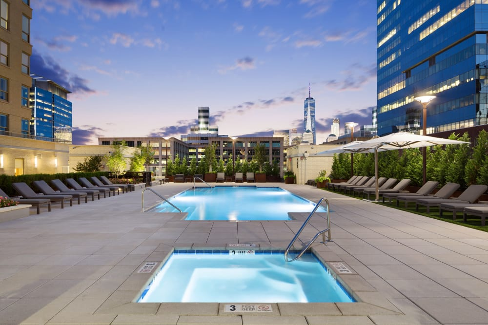 Rooftop pool at Trump Bay Street, Jersey City, New Jersey