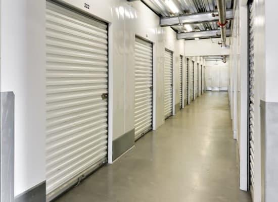Clean hallways through self storage units at A-1 Self Storage in San Diego, California