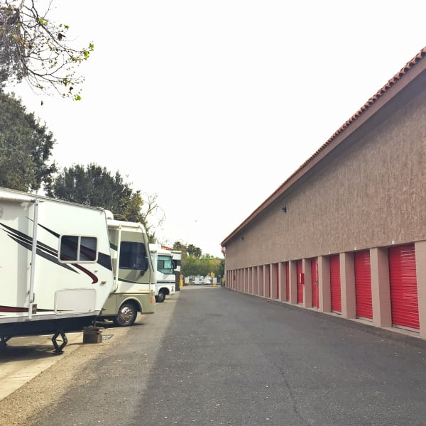 RV and boat parking across from outdoor units at StorQuest Self Storage in Camarillo, California