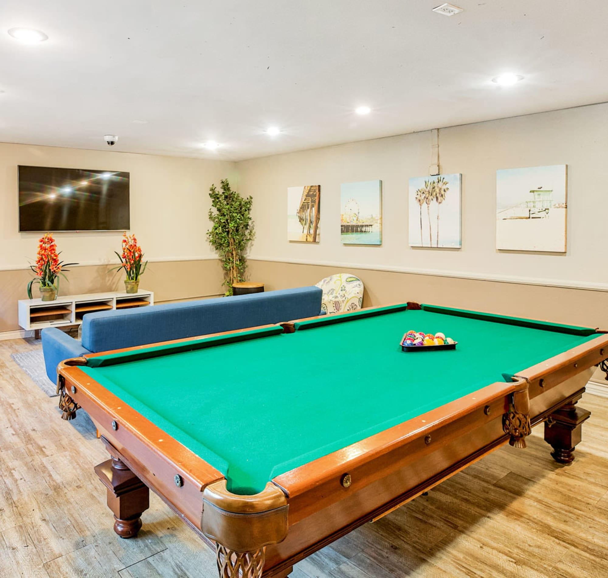 Billiards table in the Fiesta Room at Casa Granada in Los Angeles, California