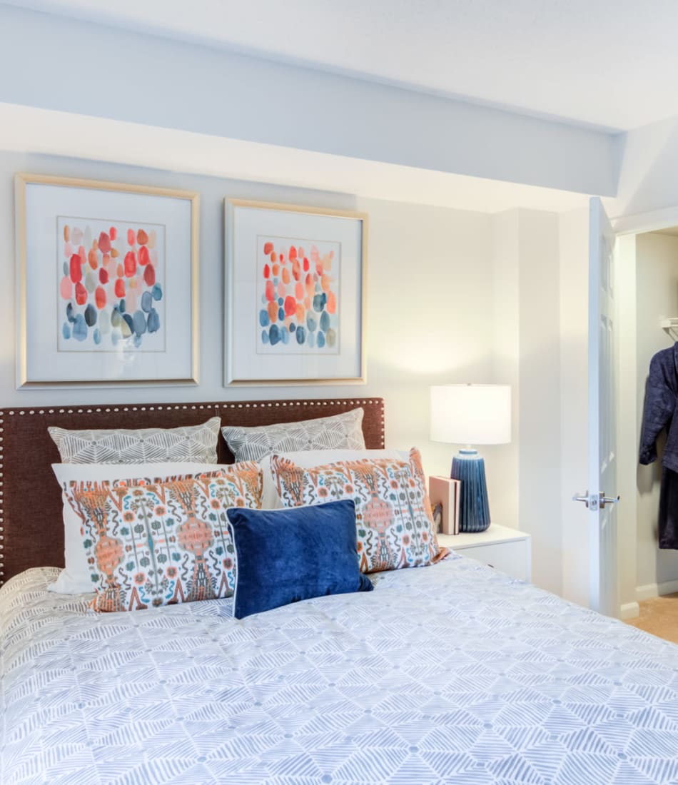 Comfortable bedroom with spacious closet at Sofi at 50 Forest in Stamford, Connecticut