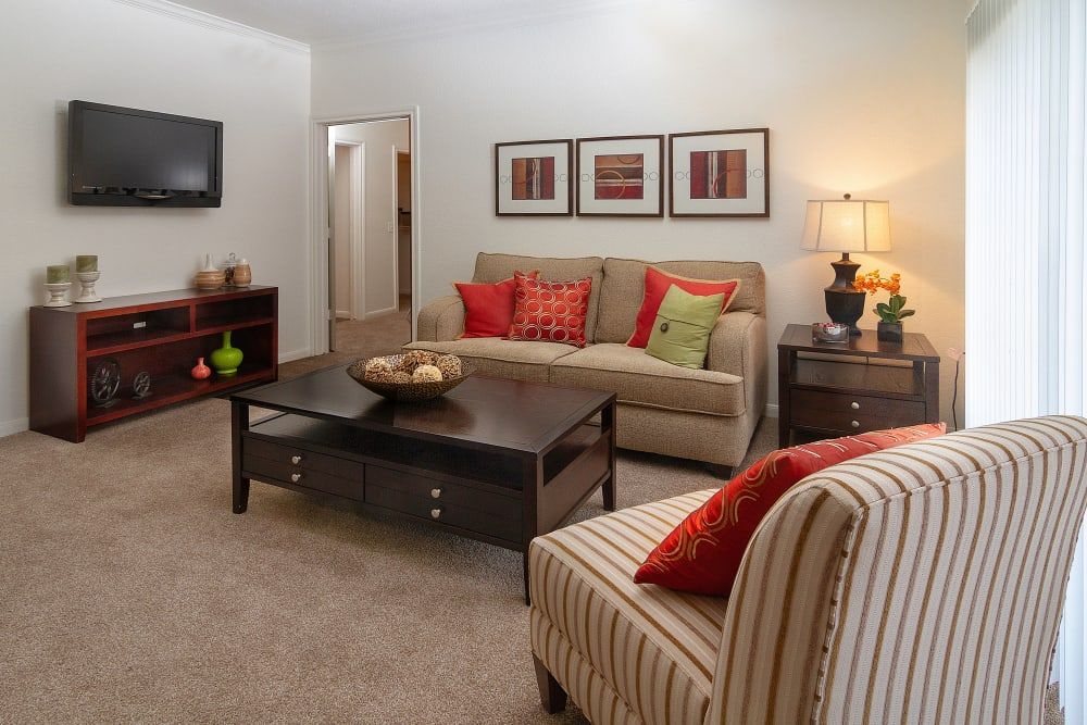 Model living room at at Alpine Meadows Apartments