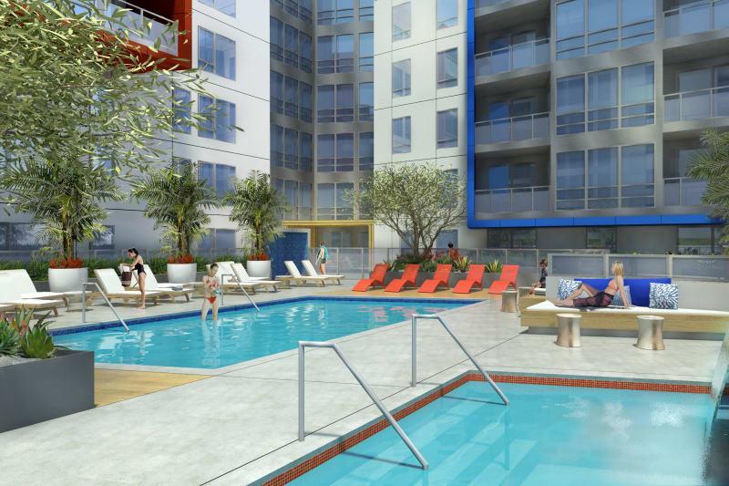 Pool deck corner view at 1400 Fig in Los Angeles, California