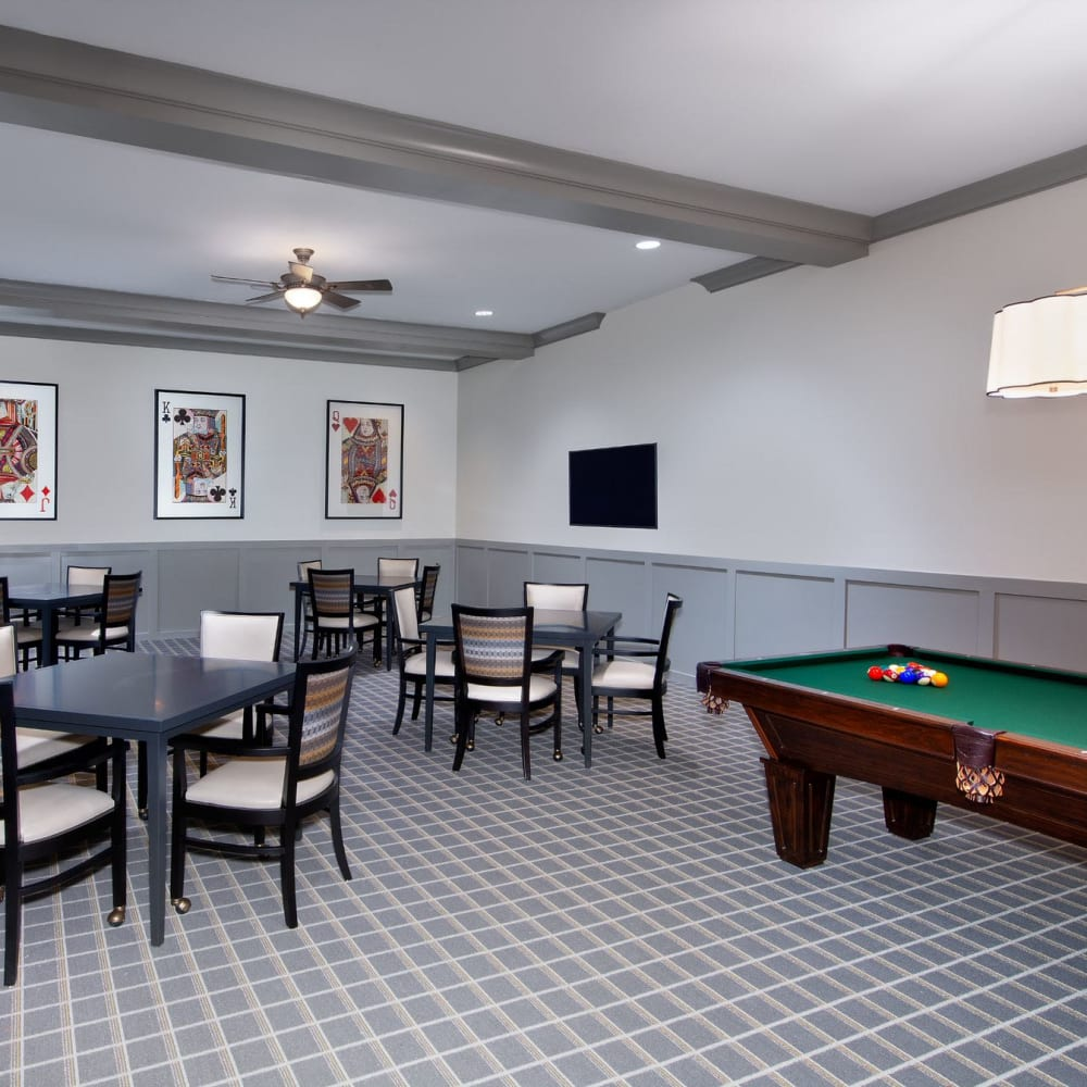 Game room at Inspired Living Delray Beach in Delray Beach, Florida