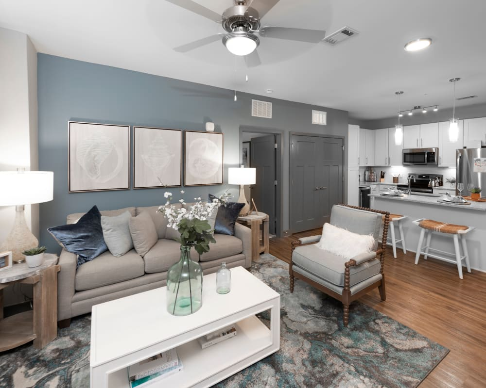 Comfortably decorated living space in a model home at Olympus Alameda in Albuquerque, New Mexico