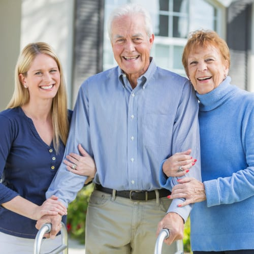 A happy resident who receives home assistance from At Home Care Group in Oregon