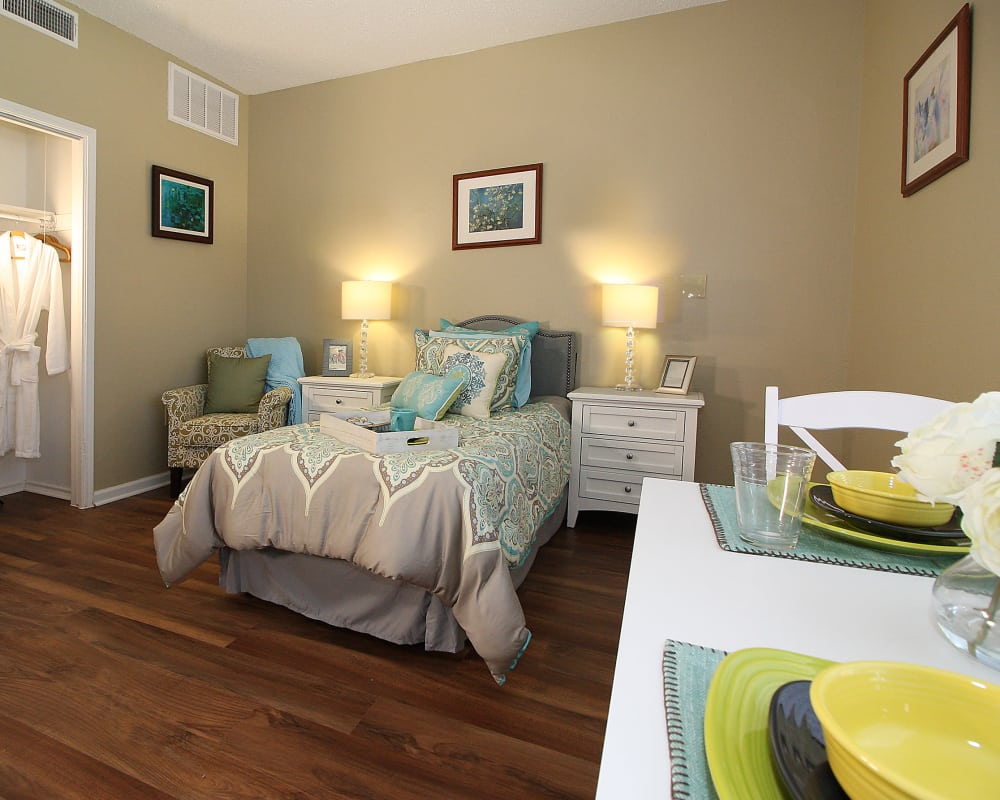 Spacious bedroom model at West Fork Village in Irving, Texas