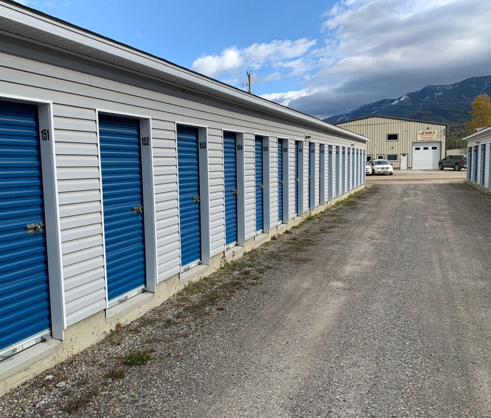 Exterior storage units at CityBox Storage in Fernie, British Columbia
