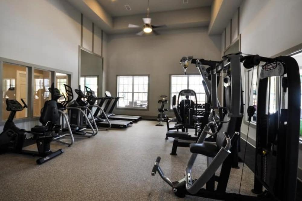 Our modern fitness center at Arbor Village in Summerville, South Carolina