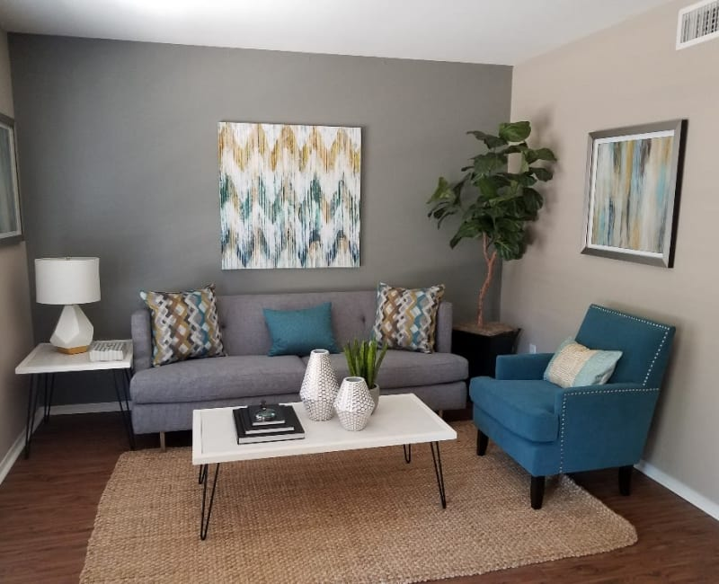 Bright and spacious living room at The Villages at Meyerland in Houston, Texas