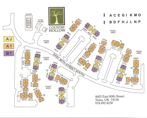 Site map for Country Hollow in Tulsa, Oklahoma