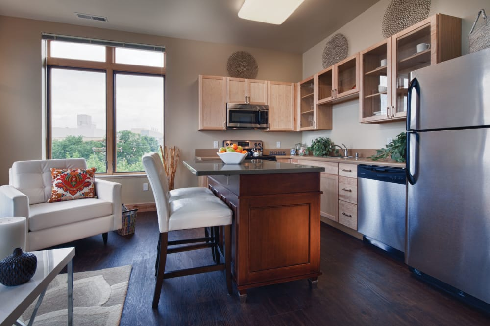 Kitchen layout at Keystone Apartments in Madison, Wisconsin