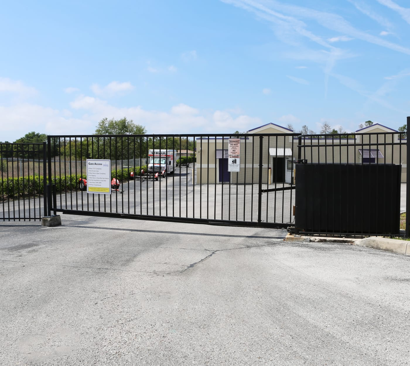 Entrance gate at StoreSmart Self-Storage in Spring Hill, Florida