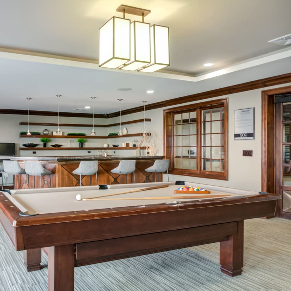 Billiards table in the resident lounge at Sofi at Morristown Station in Morristown, New Jersey