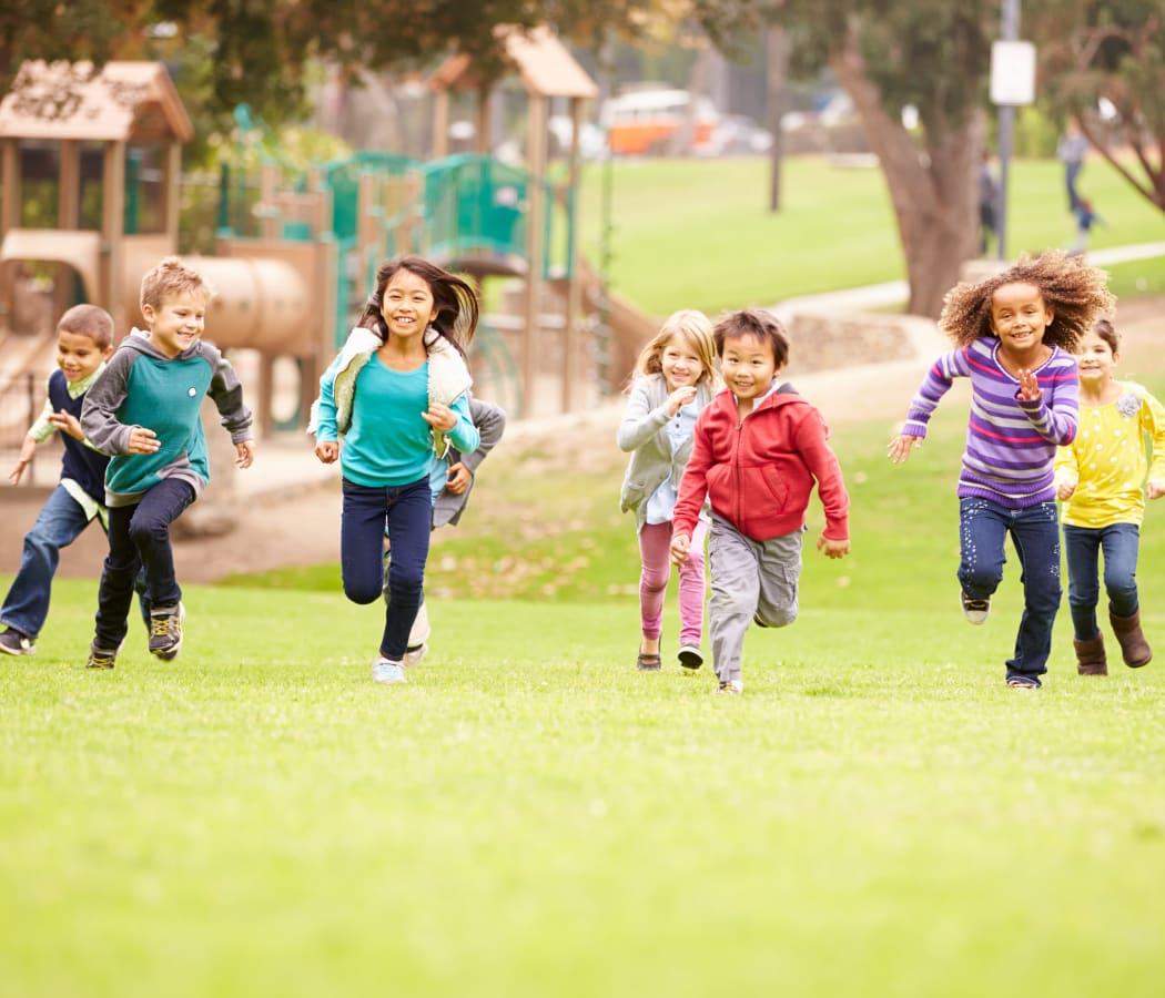 Children at play near Brandywyne Village in East Boston, Massachusetts