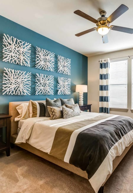Bedroom of model unit at Terrawood in Grapevine