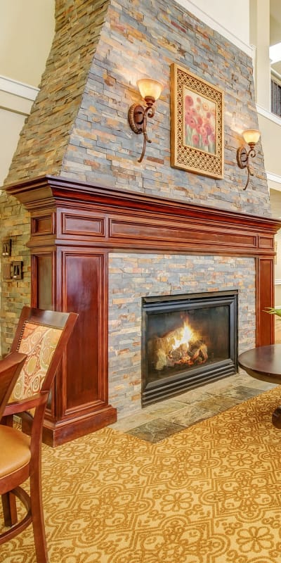 Fireplace for our residents at The Commons at Union Ranch in Manteca, California