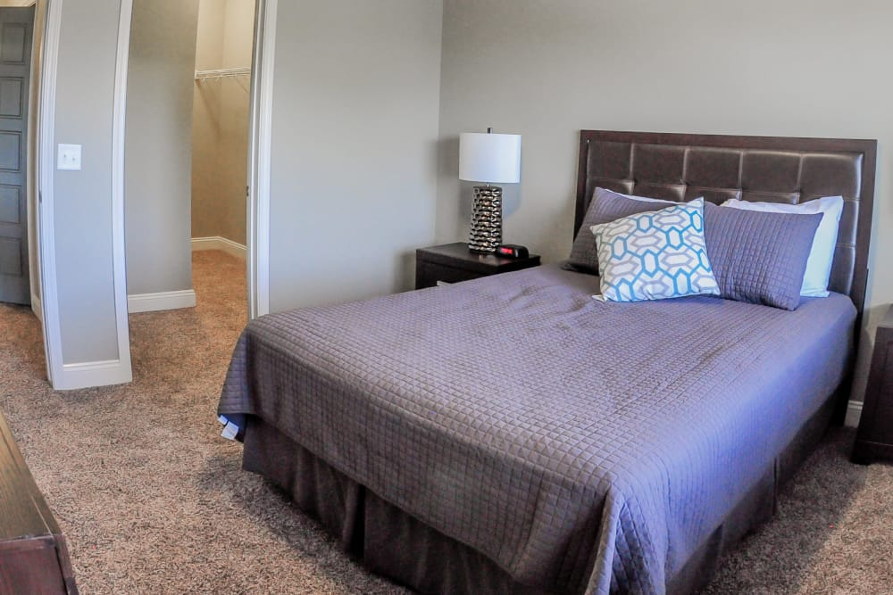 Model bedroom at The Cascades at Jordan Creek in West Des Moines, Iowa