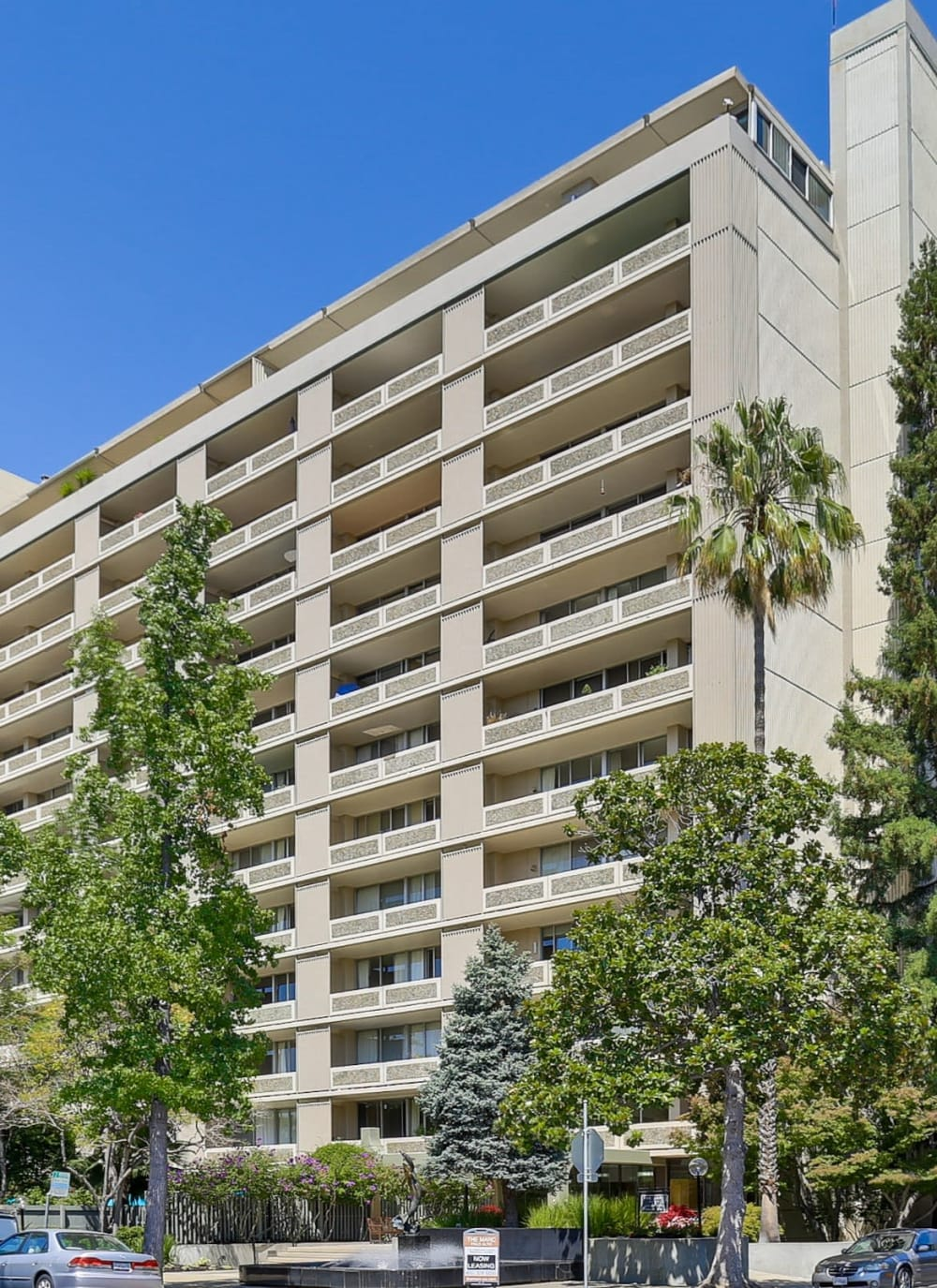 Exterior of high-rise apartments at The Marc, Palo Alto in Palo Alto, California