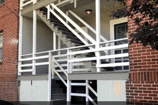 Exterior stairway at University Avenue Apartments in Des Moines, Iowa
