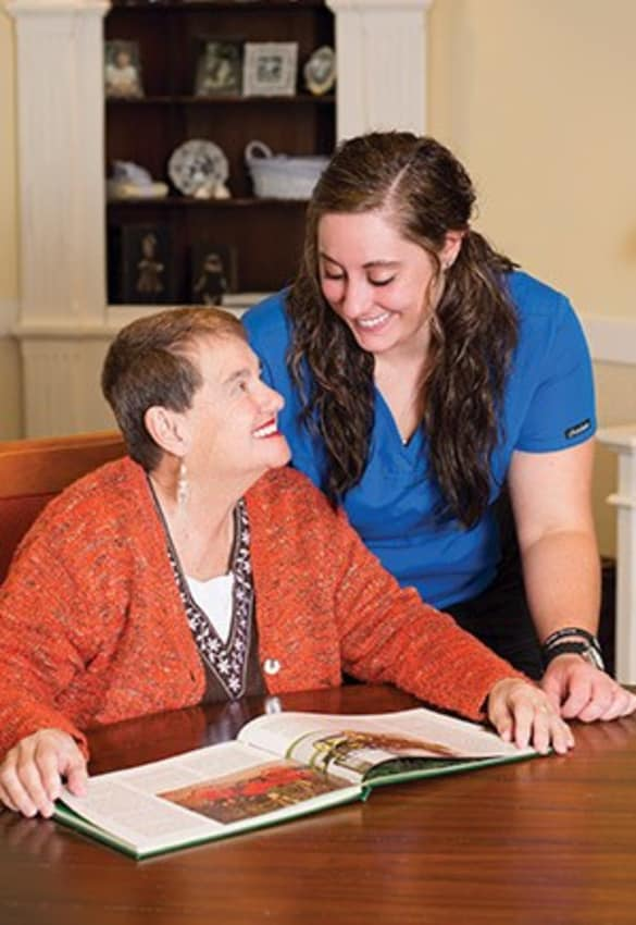Anson Senior Living resident reading in Zionsville, Indiana