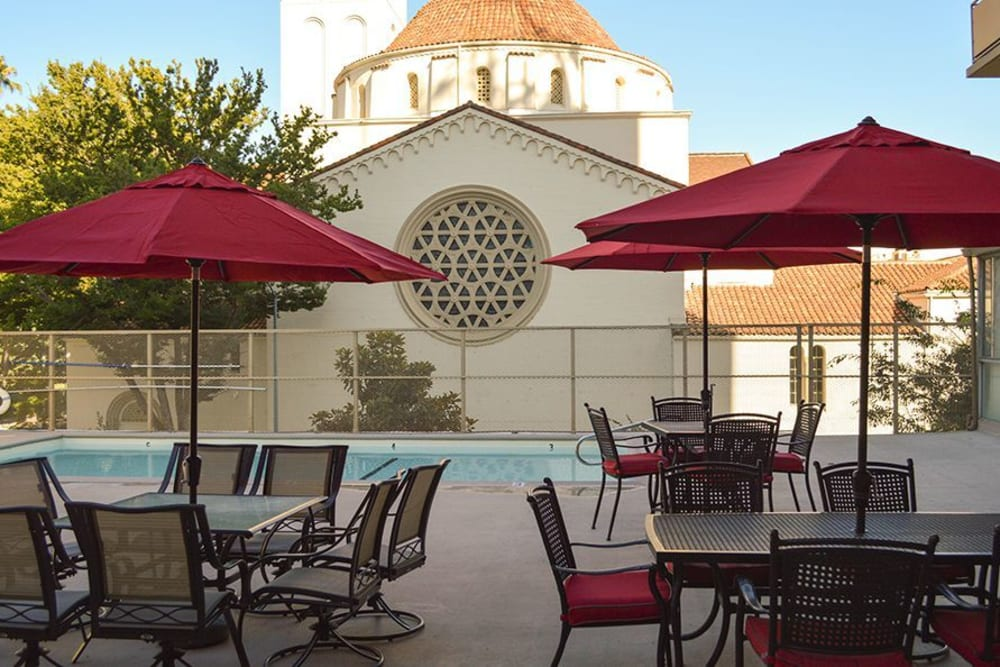 Swimming pool area at Park Place Senior Living in Sacramento, California