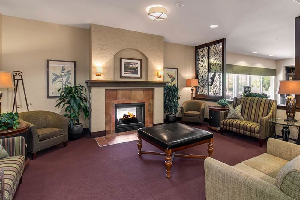 indoor fireplace at Merrill Gardens at Green Valley Ranch in Henderson, Nevada.
