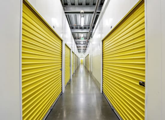 Clean hallways through self storage units at A-1 Self Storage in Bell Gardens, California