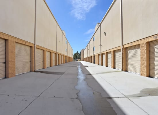 Outdoor units and a wide driveway at A-1 Self Storage in Chula Vista, California
