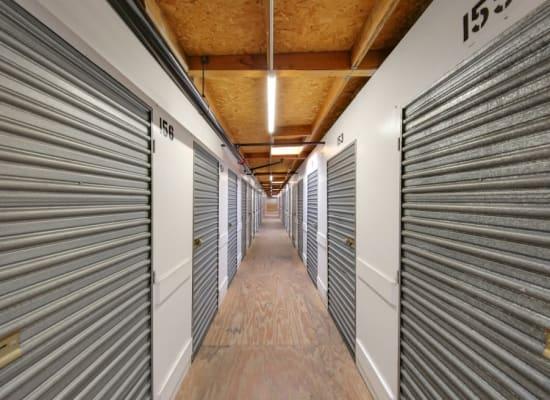 Clean hallways through self storage units at A-1 Self Storage in El Cajon, California