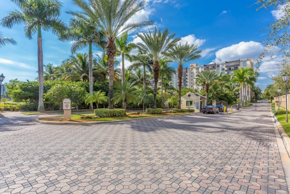 Beautiful driveway to our gated community at Aliro in North Miami, Florida
