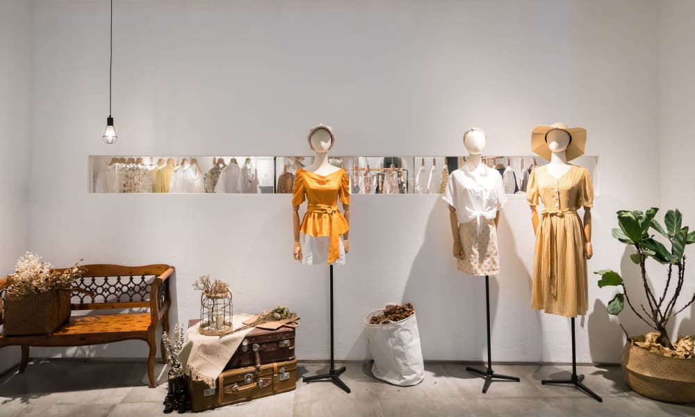 Women's clothing on display at a boutique near Mariners Village in Marina del Rey, California