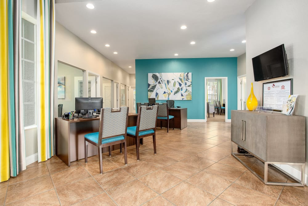 Clubhouse area for residents at The Avenue in Ocoee, Florida