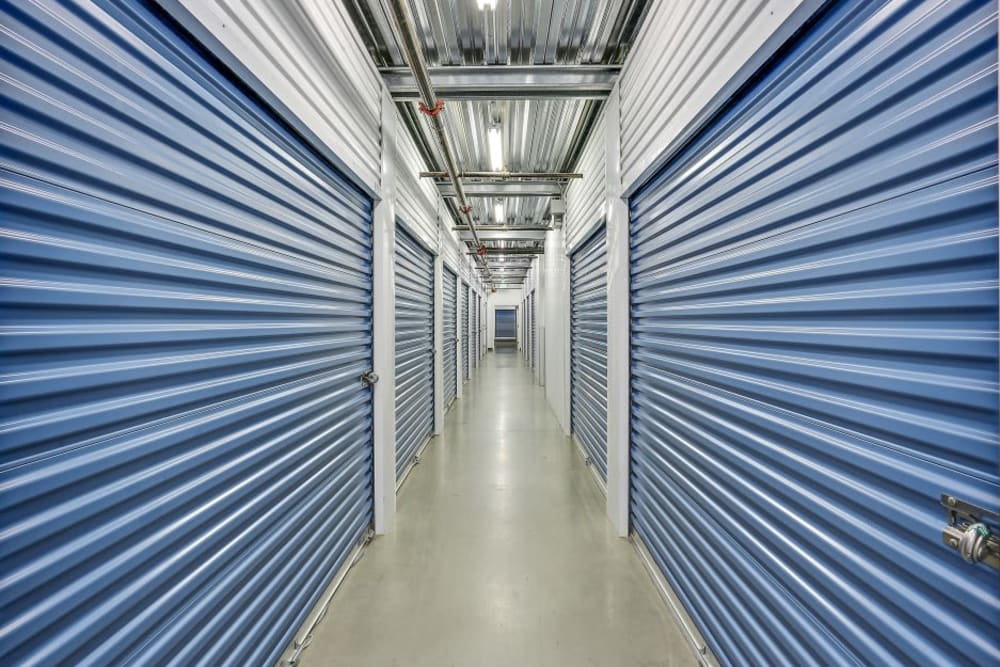 A row of indoor storage units at A-1 Self Storage in Lake Forest, California