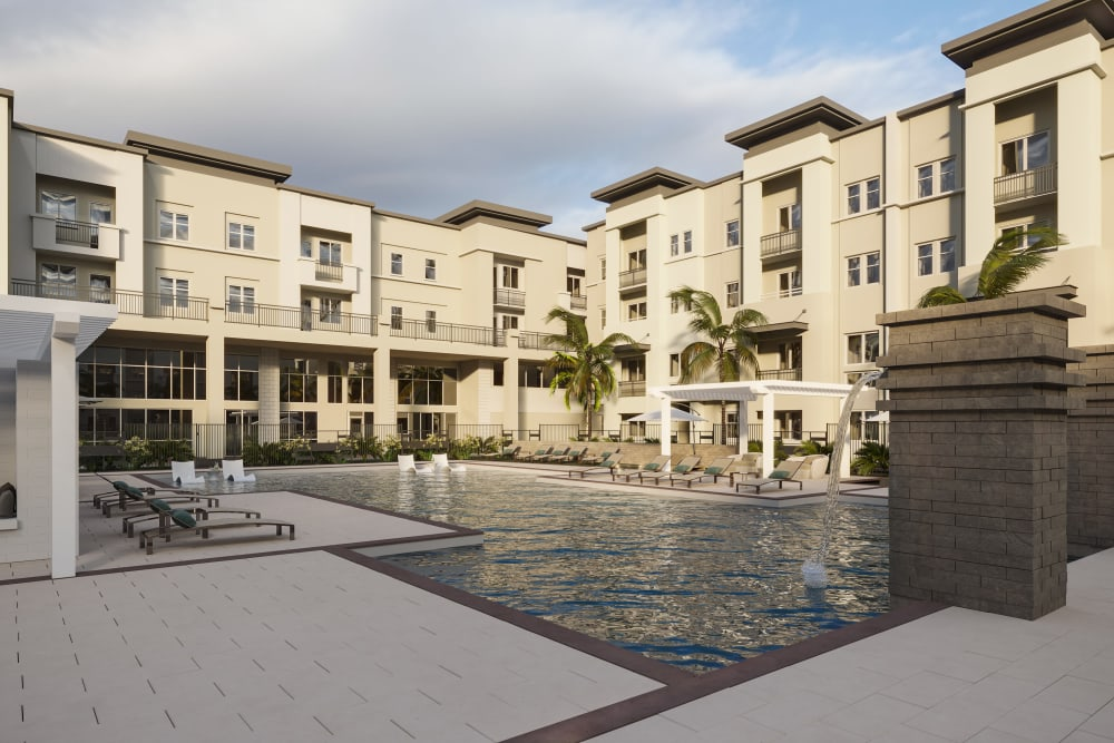 Rendering of the swimming pool at The District at Chandler in Chandler, Arizona