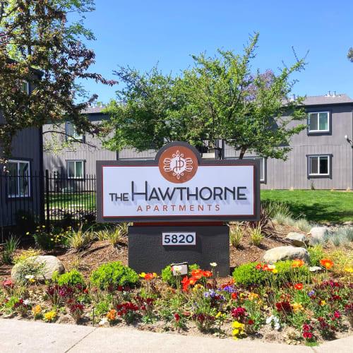 Main sign at The Hawthorne in Carmichael, California