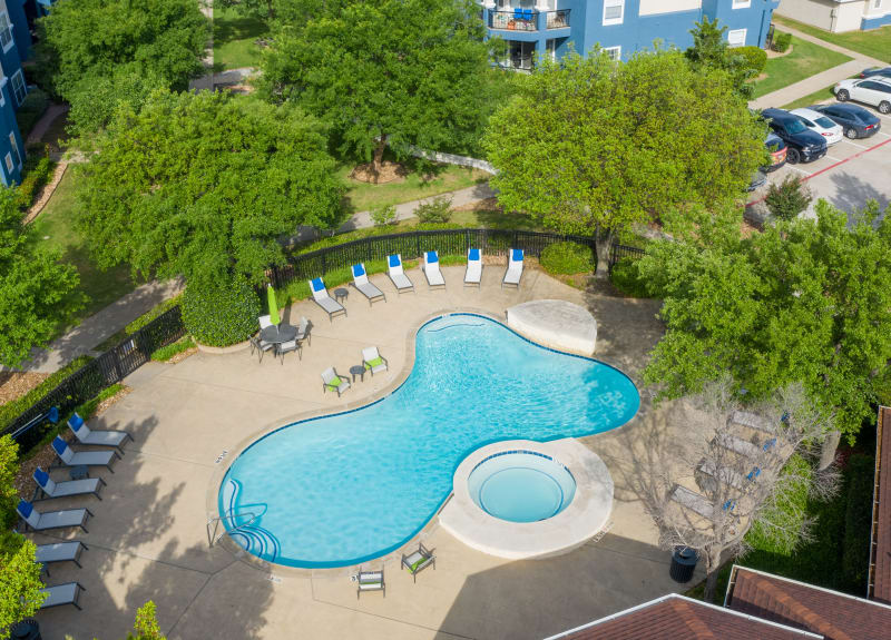Aerial pool view at The View at Lakeside in Lewisville, Texas