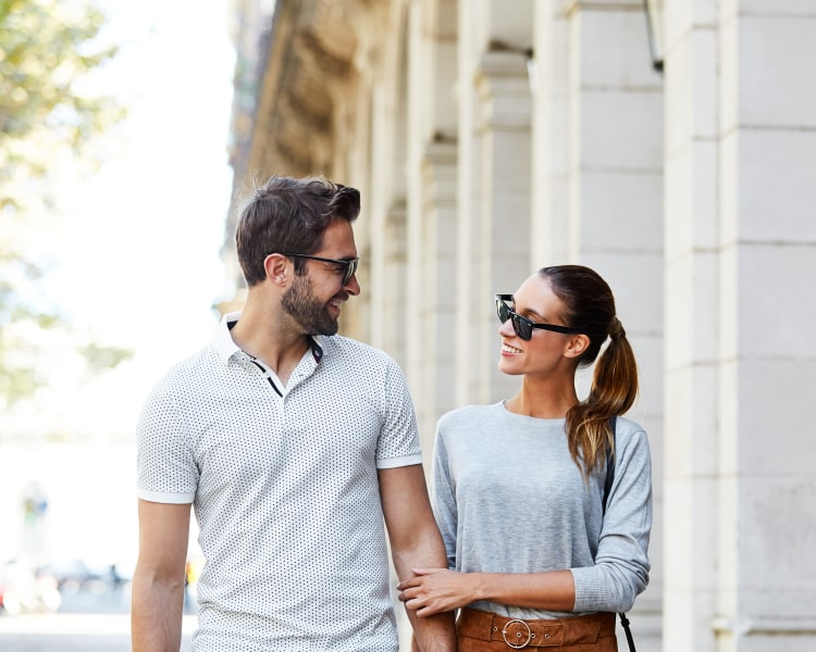 Resident couple doing some shopping downtown near Sofi at Morristown Station in Morristown, New Jersey