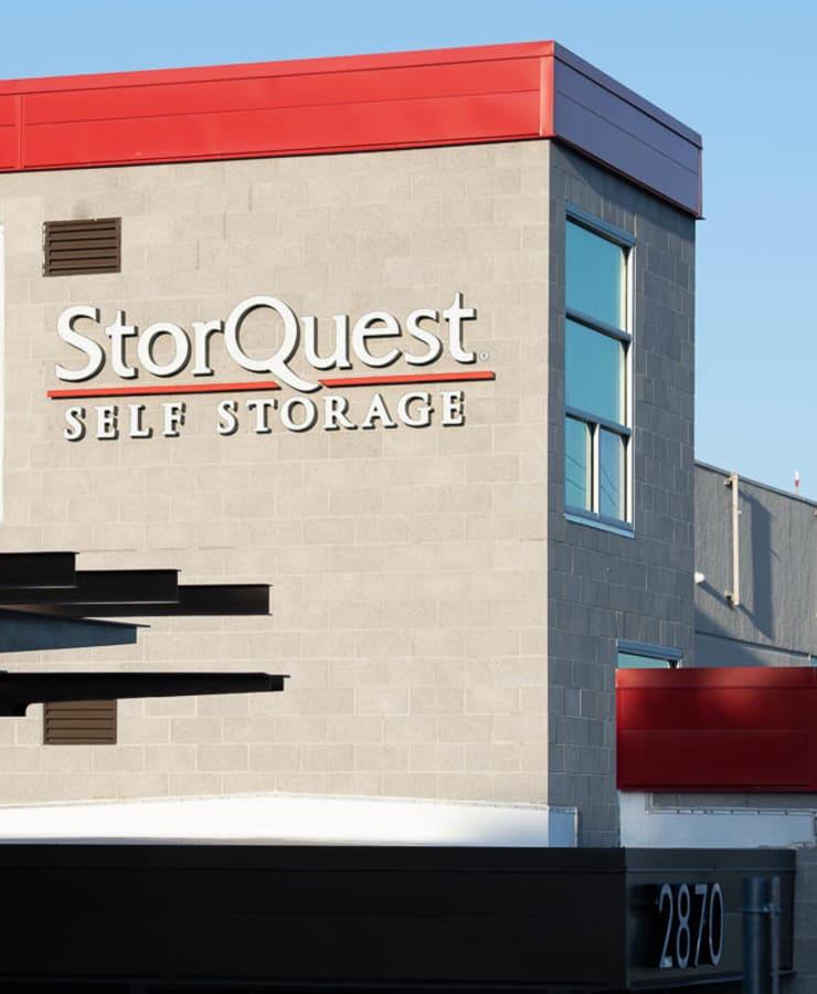 StorQuest Self Storage sign on building in Walnut Creek, California