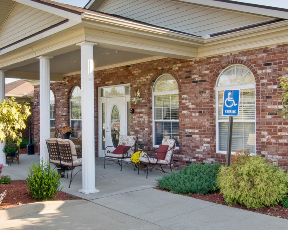 Front entrance at Bluff Creek Terrace Senior Living in Columbia, Missouri