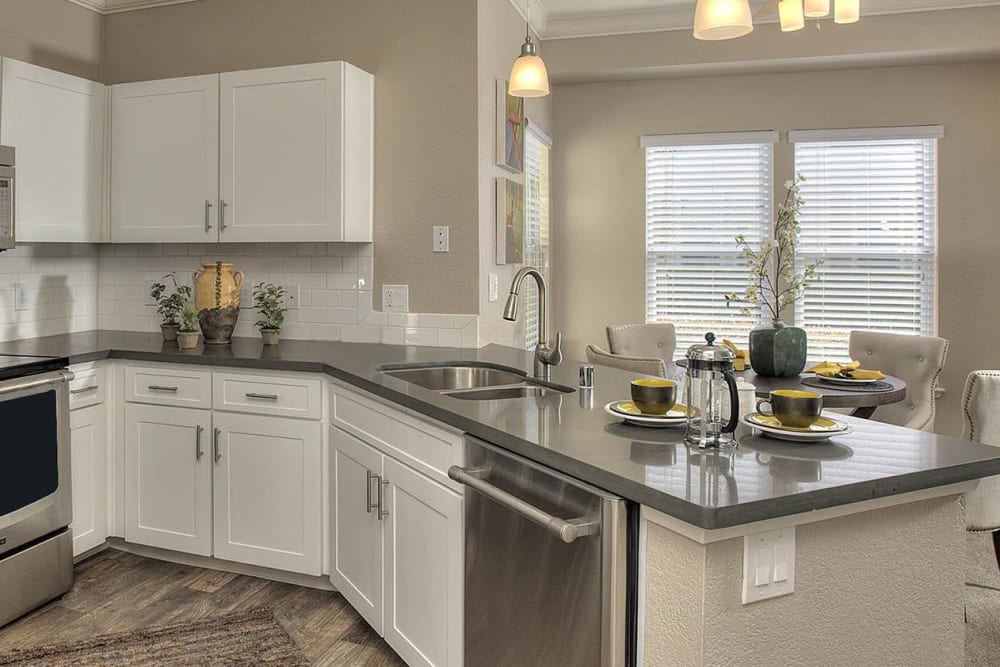 Apartment kitchen with stainless-steel appliances at Iron Point at Prairie Oaks in Folsom, California