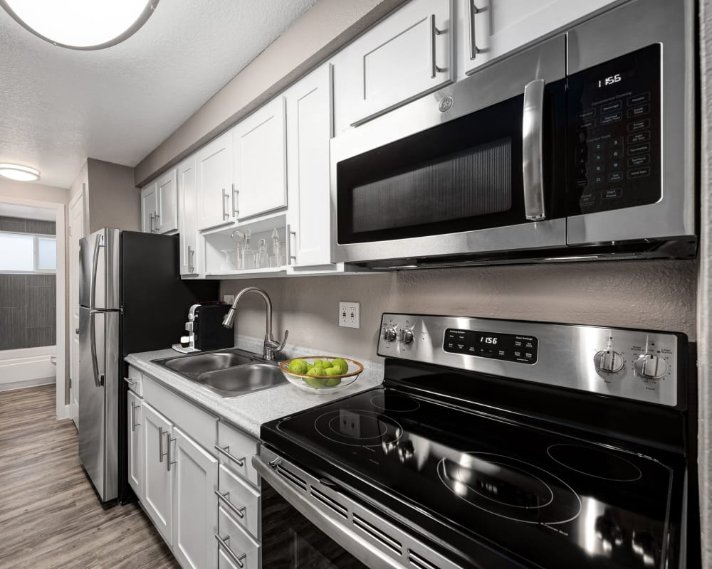 Stainless-steel appliances in model home at Southglenn Place in Centennial, Colorado