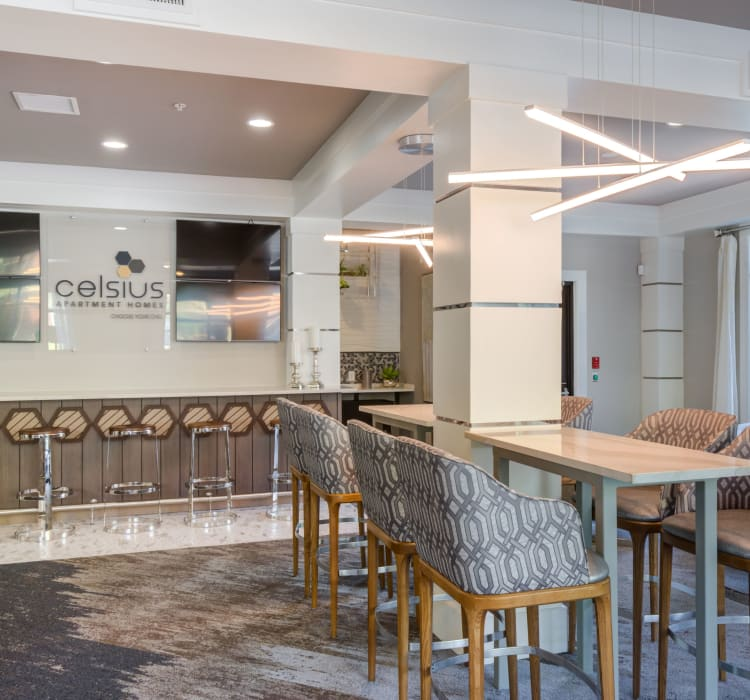 Clubhouse seating at Celsius Apartment Homes in Charlotte, North Carolina