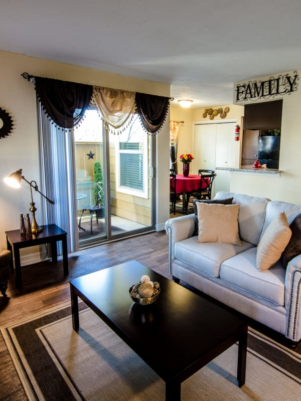 Cedar Ridge Apartments model living room in Baytown, TX