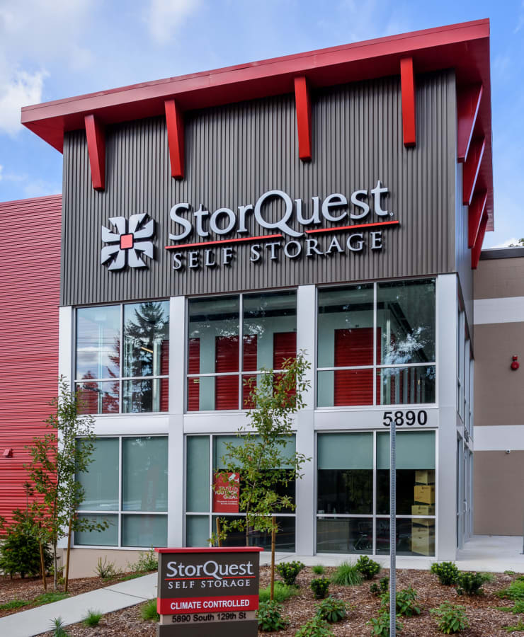 Exterior of the main entrance at StorQuest Self Storage in Seattle, Washington