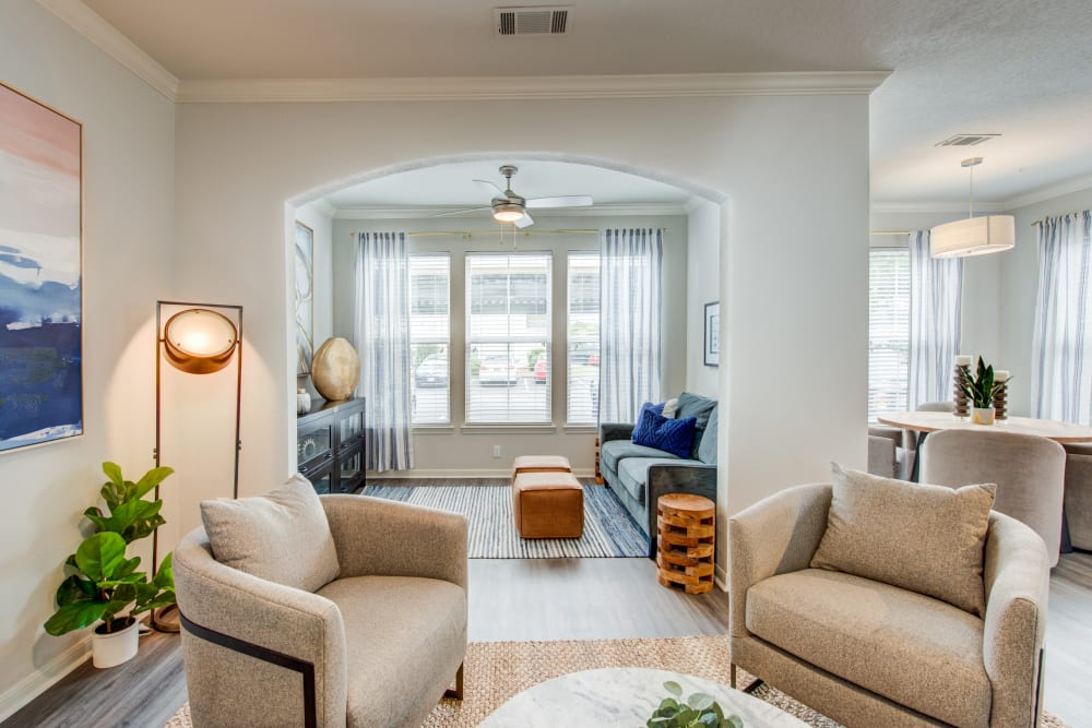 Model living room with den in Ingleside Apartments in North Charleston, South Carolina