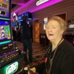 Resident Judy at the casino for her Dare to Dream event near Milestone Senior Living in Faribault, Minnesota.