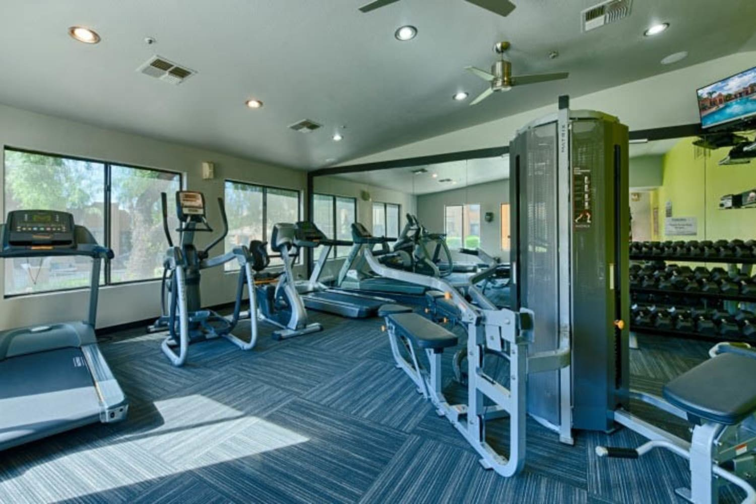 Fitness center at at Cabrillo Apartments in Scottsdale, Arizona