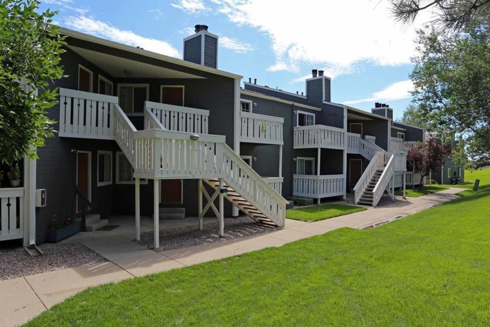 Stairwells on the exterior of Bluesky Landing Apartments in Lakewood, Colorado