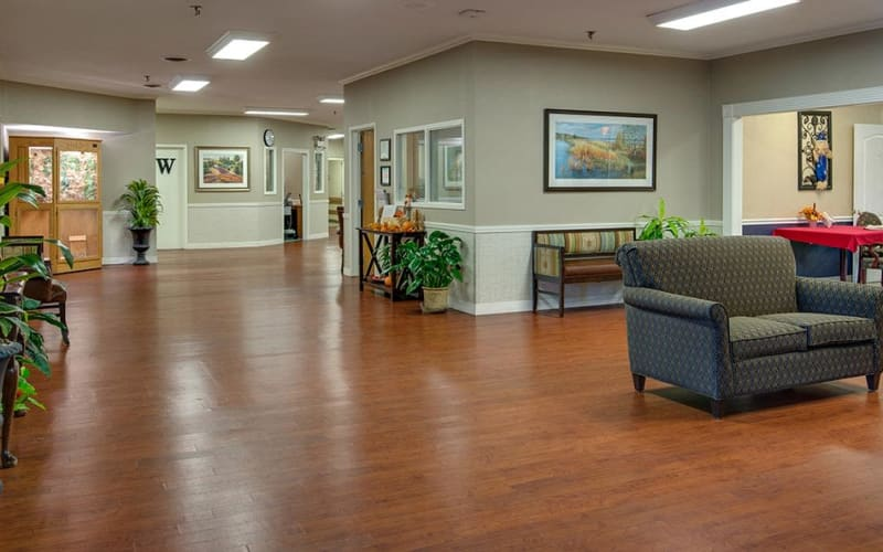 The community lounge at Southbrook in Farmington, Missouri